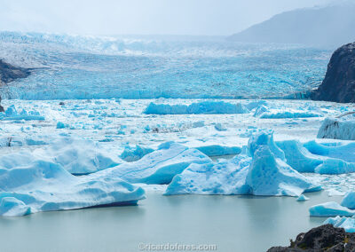 Grey Glacier, Torres del Paine National Park, Chile. Photo with 61 cm x 31 cm (24 in x 12 in).