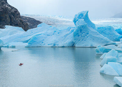 Glaciar Grey, Parque Nacional Torres del Paine, Chile. Foto com 28 cm x 16 cm.