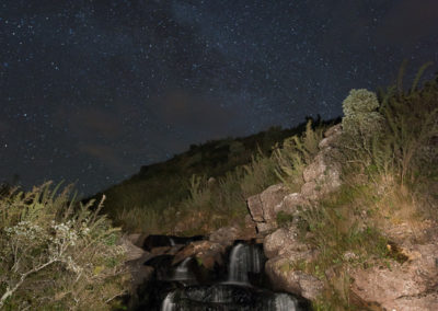Flores waterfall and Milky Way