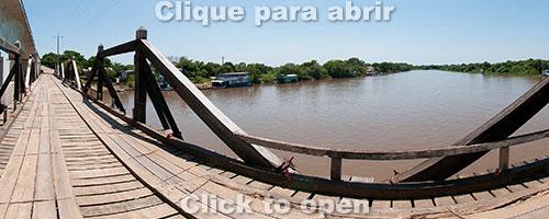 Passo do Lontra e ponte nova e antiga sobre o rio Miranda, na Estrada-Parque